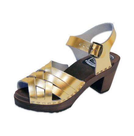 Puukengät Ankle-Triple Gold-Metallic 7 cm